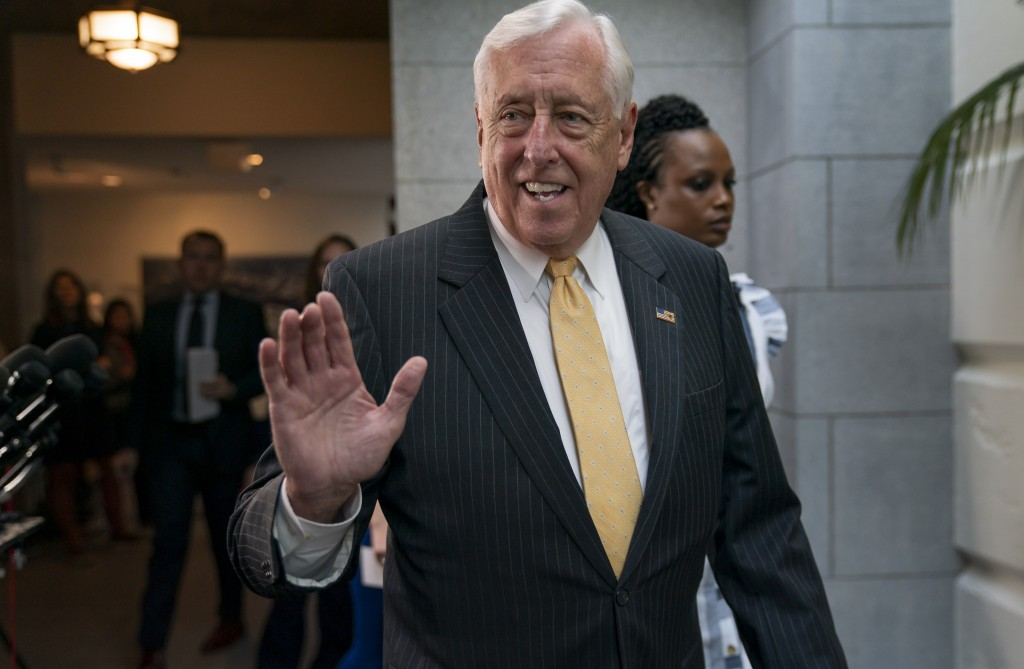 House Majority Leader Steny Hoyer, D-Md., arrives for a gathering of the House Democratic Caucus as Congress returns for the fall session with pressur...