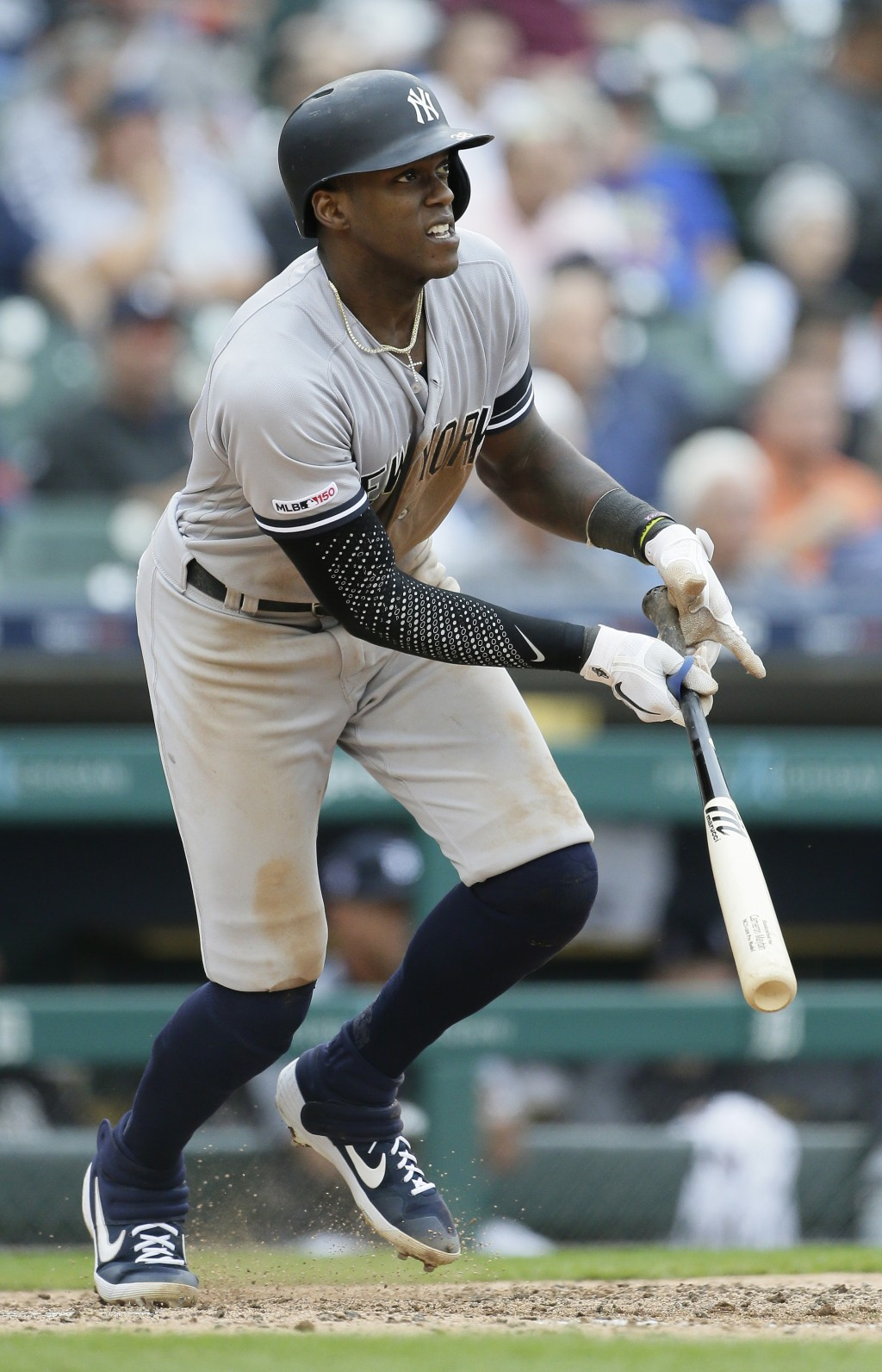 New York Yankees' Cameron Maybin watches his two-run double during the seventh inning of the first game of a baseball doubleheader, Thursday, Sept. 12...