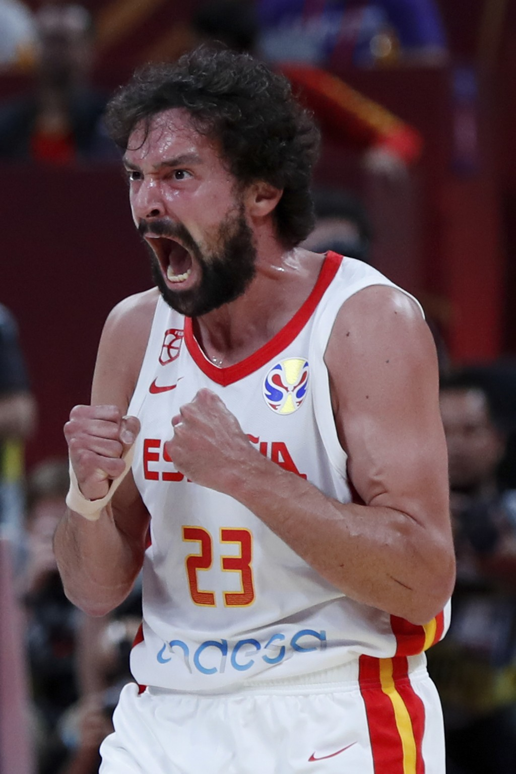 Sergio Llull of Spain reacts after scoring a three pointer against Australia during their semifinals match for the FIBA Basketball World Cup at the Ca
