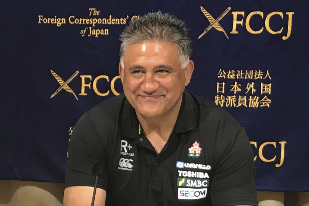 Japan head coach Jamie Joseph smiles while speaking during a press conference in Tokyo Friday, Aug. 30, 2019. Joseph has set an ambitious goal of reac