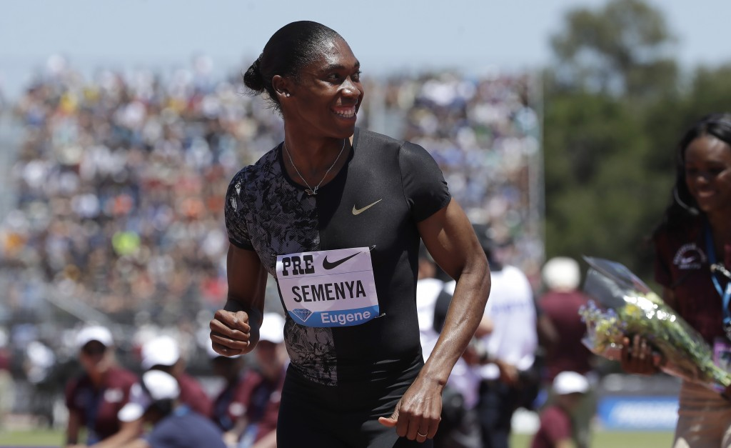 FILE - In this Sunday, June 30, 2019 file photo, South Africa's Caster Semenya smiles after winning the women's 800-meter race during the Prefontaine ...