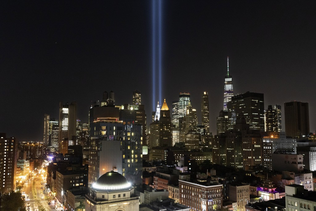 The Tribute in Light rises above the lower Manhattan skyline, Tuesday, Sept. 10, 2019 in New York. Wednesday marks the 18th anniversary of the terror ...