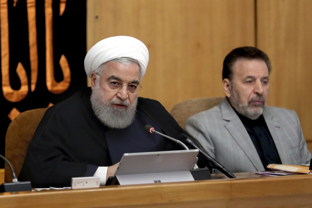 In this photo released by the office of the Iranian Presidency, President Hassan Rouhani speaks in a cabinet meeting in Tehran, Iran, Wednesday, Sept....