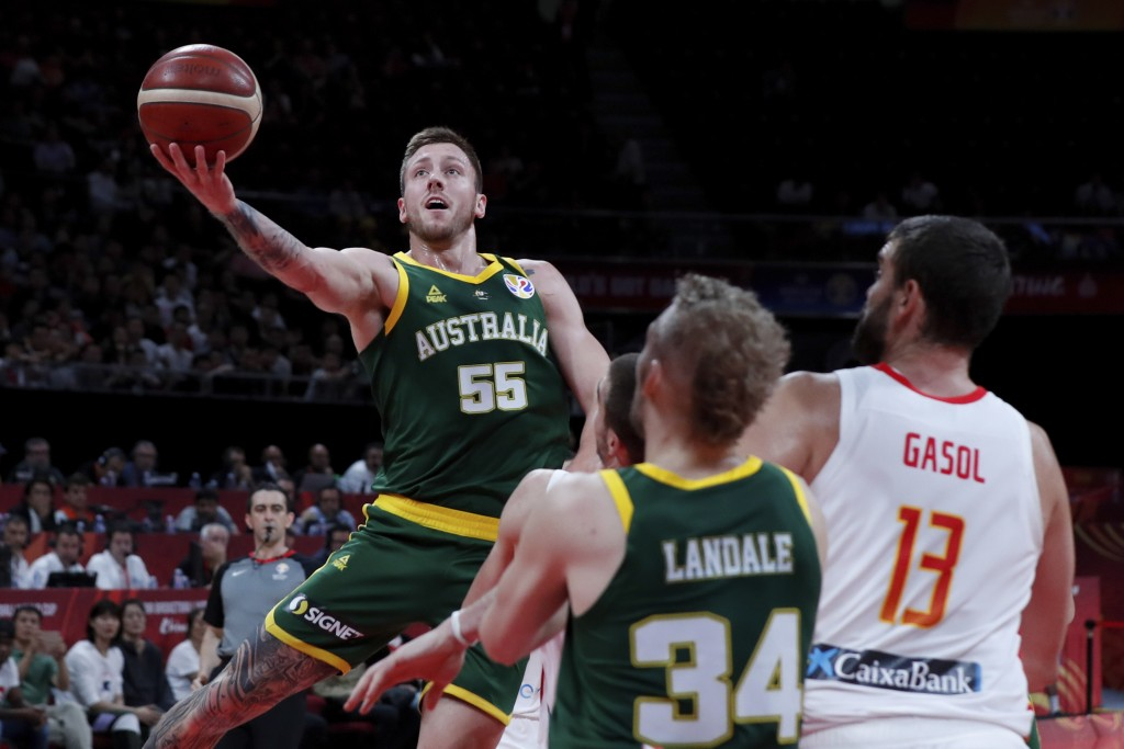 Mitch Creek of Australia puts a shot over Spain during their semifinals match for the FIBA Basketball World Cup at the Cadillac Arena in Beijing, Satu...