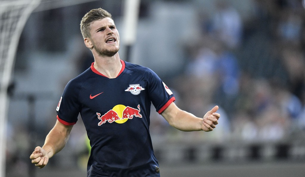 Leipzig's scorer Timo Werner celebrates the second of his three goals during the German Bundesliga soccer match between Borussia Moenchengladbach and ...