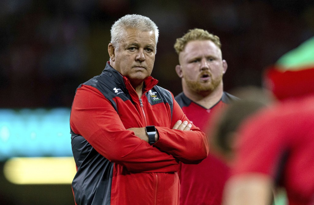 Wales Head Coach Warren Gatland during the international match against Ireland at The Principality Stadium, Cardiff, Wales, Saturday Aug. 31, 2019. (A...
