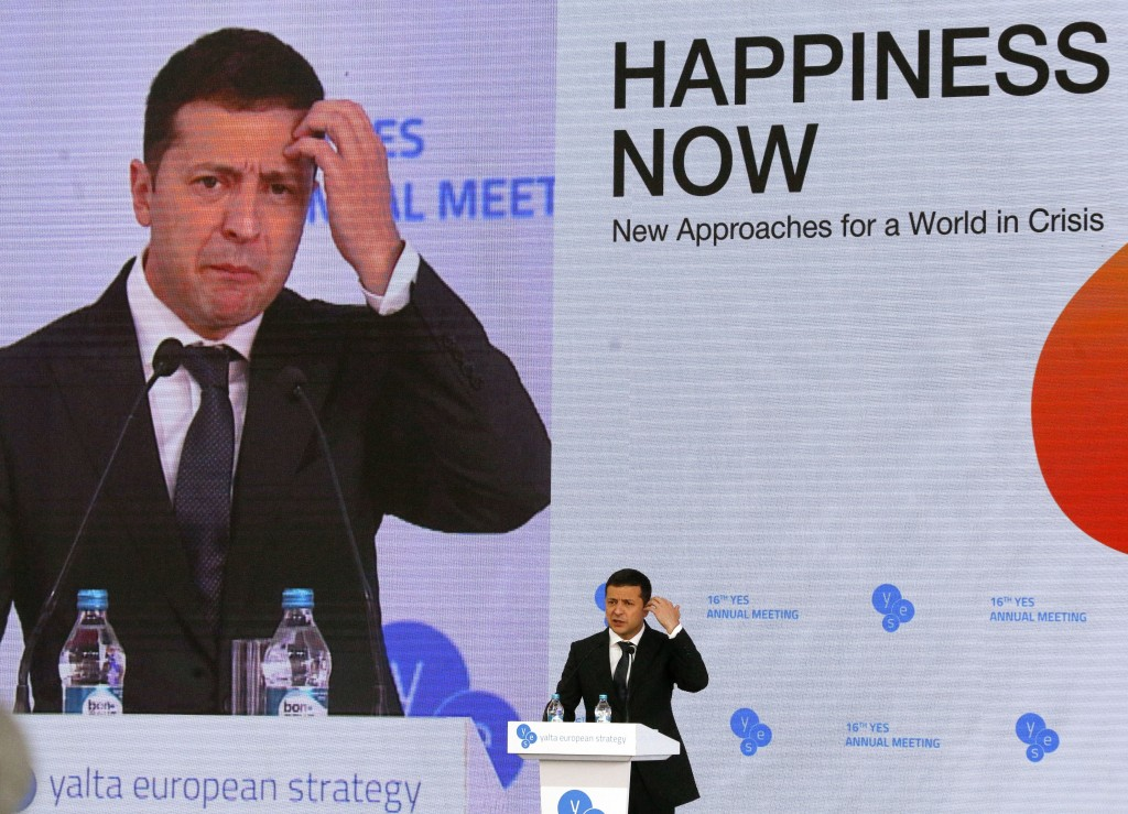 """Ukrainian President Volodymyr Zelenskiy address the 16th Yalta European Strategy (YES) annual meeting entitled """"Happiness Now. New Approaches for a Wo..."""
