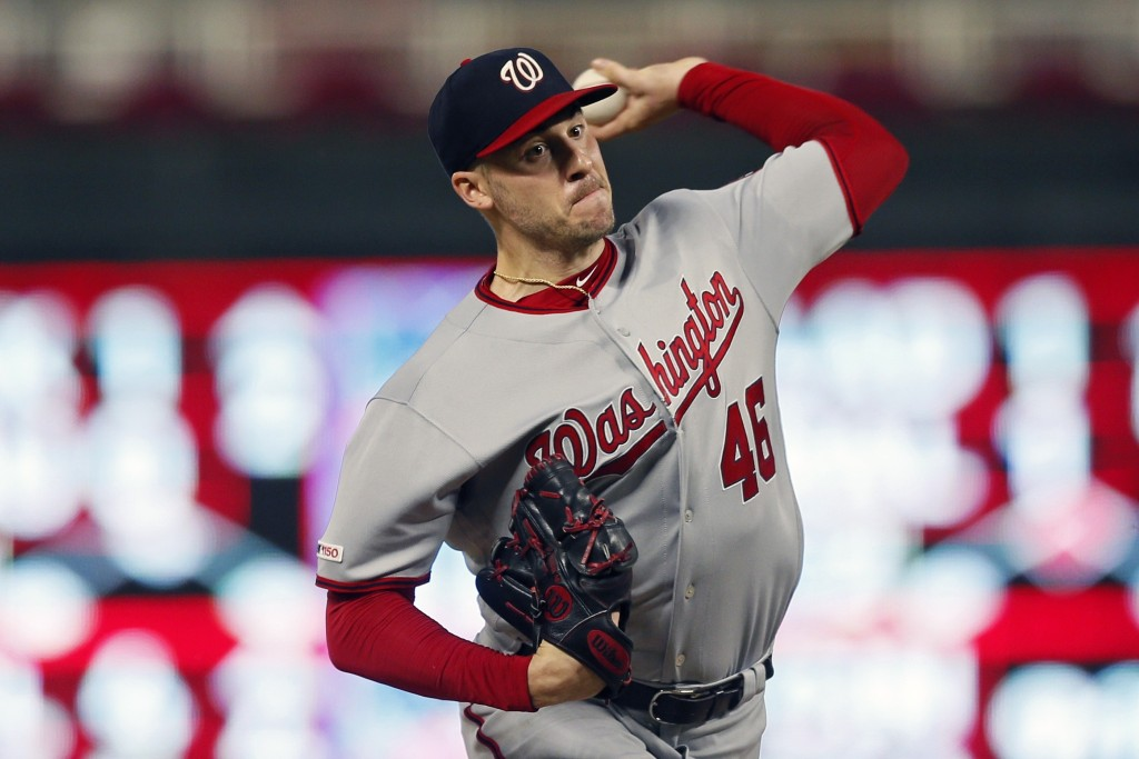 Washington Nationals pitcher Patrick Corbin throws against the Minnesota Twins in the first inning of a baseball game Thursday, Sept. 12, 2019, in Min