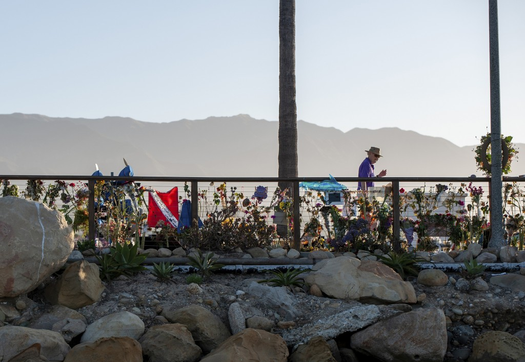 A memorial for the victims of the Conception is seen on the Santa Barbara Harbor in Santa Barbara, Calif., Sunday, Sept. 8, 2019. Authorities served s...