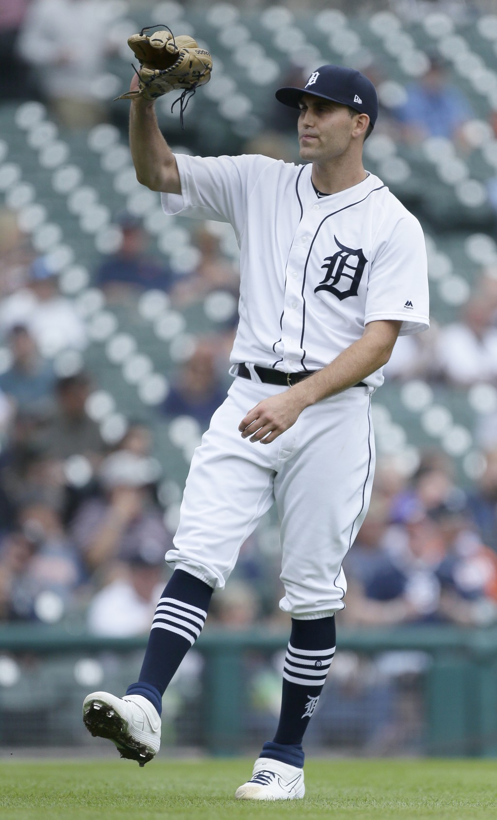 Detroit Tigers starting pitcher Matthew Boyd (48) reacts after giving up a two-run home run to New York Yankees' Luke Voit during the first inning of