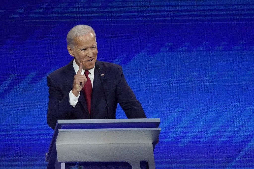 Former Vice President Joe Biden responds to a question Thursday, Sept. 12, 2019, during a Democratic presidential primary debate hosted by ABC at Texa...