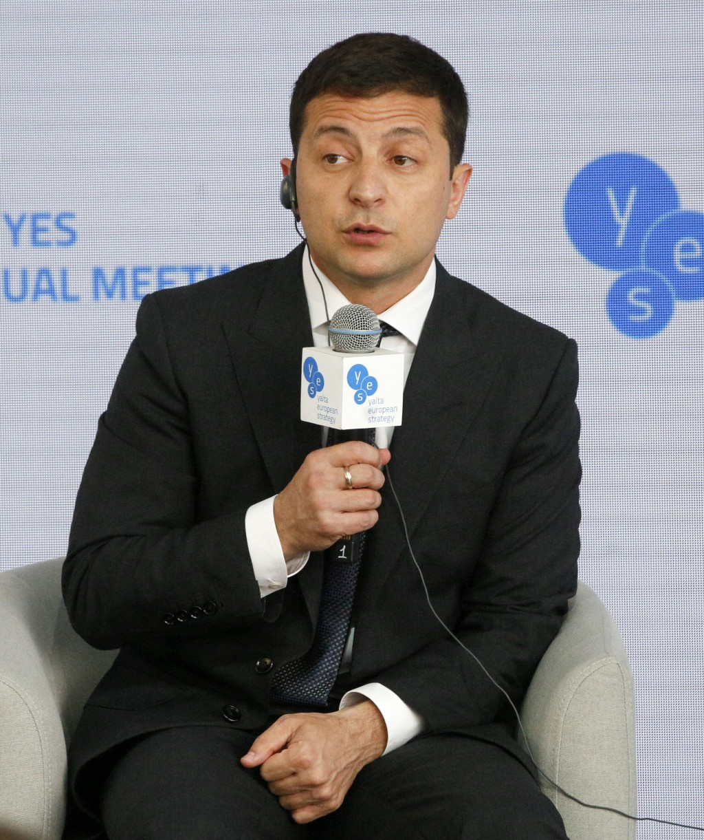 """Ukrainian President Volodymyr Zelenskiy addresses the 16th Yalta European Strategy (YES) annual meeting entitled """"Happiness Now. New Approaches for a ..."""