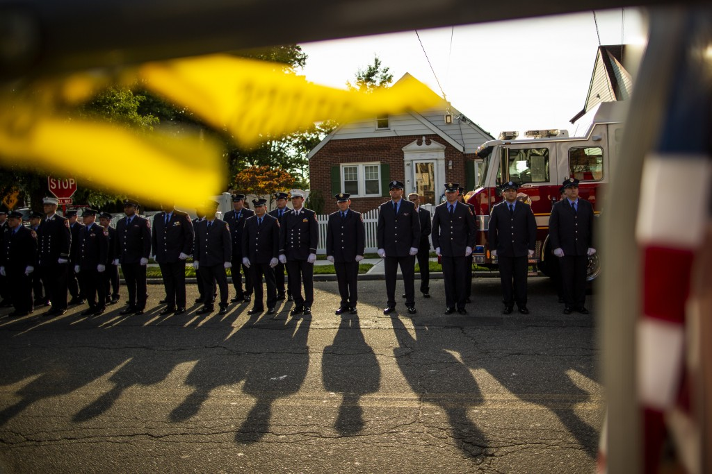 New York Fire Department members attend a second funeral service for FDNY firefighter Michael Haub in Franklin Square, N.Y., Tuesday, Sept. 10, 2019. ...