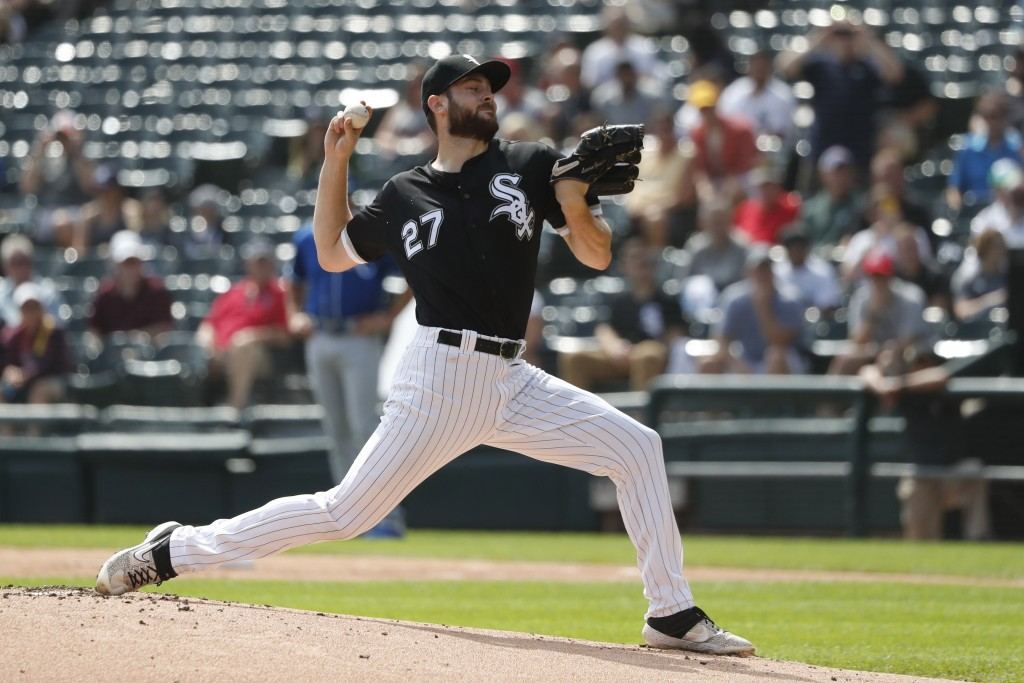 Chicago White Sox starting pitcher Lucas Giolito delivers during the first inning of a baseball game against the Kansas City Royals Thursday, Sept. 12...