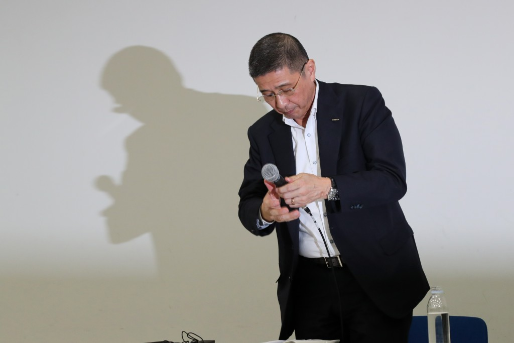 In this Monday, Sept. 9, 2019, file photo, Nissan Chief Executive Hiroto Saikawa prepares to leave a press conference in the automaker's headquarters ...
