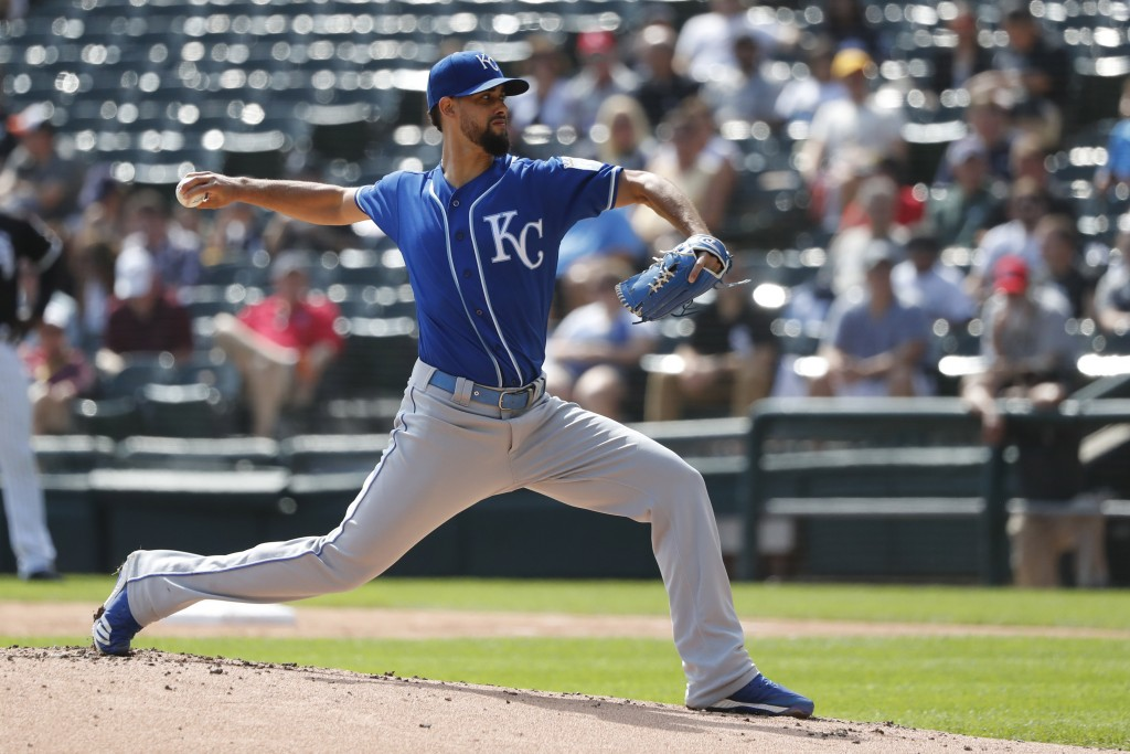 Kansas City Royals relief pitcher Jorge Lopez delivers during the first inning of a baseball game against the Chicago White Sox Thursday, Sept. 12, 20...