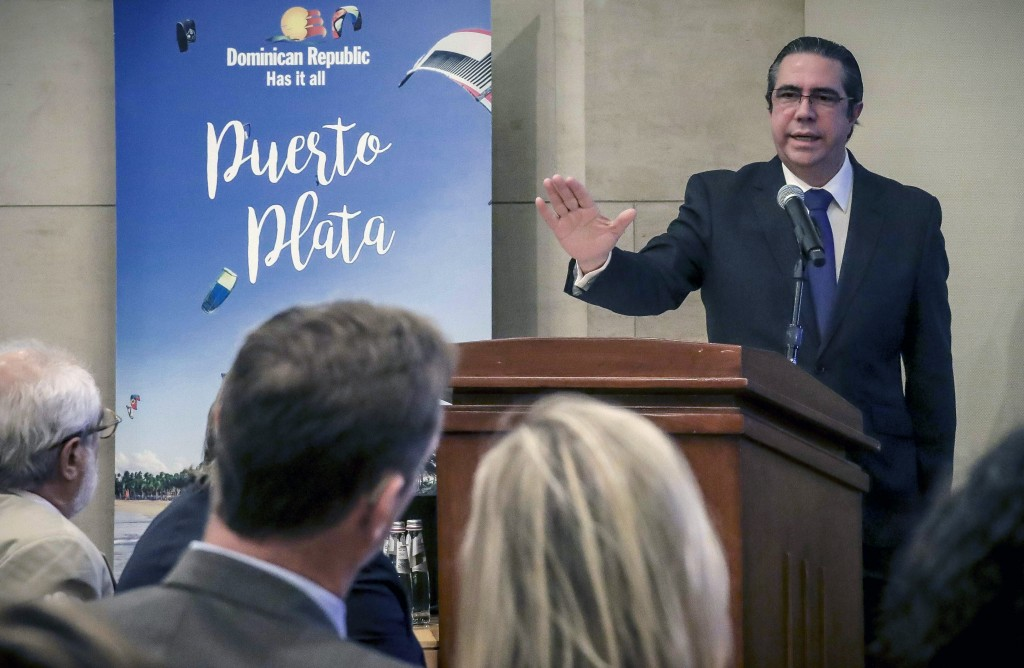 Dominican Republic Minister of Tourism Francisco Javier García discusses the official state of his country's tourism, during a press conference, Thurs...