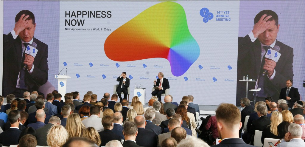 """Ukrainian President Volodymyr Zelenskiy addresses the 16th Yalta European Strategy (YES) annual meeting entitled """"Happiness Now. New Approaches for a"""