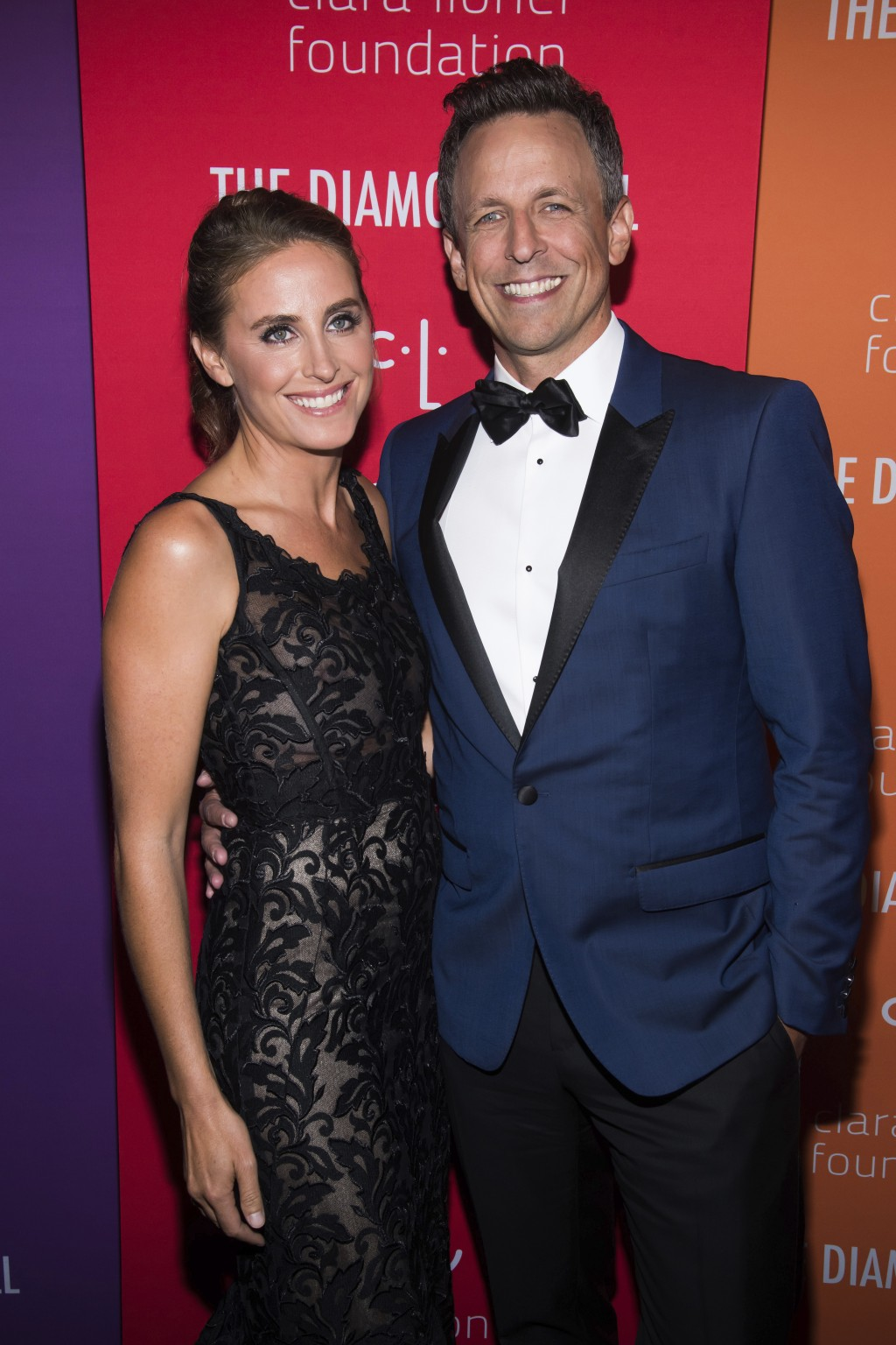 Alexi Ashe and Seth Meyers attend the 5th annual Diamond Ball benefit gala at Cipriani Wall Street on Thursday, Sept. 12, 2019, in New York. (Photo by