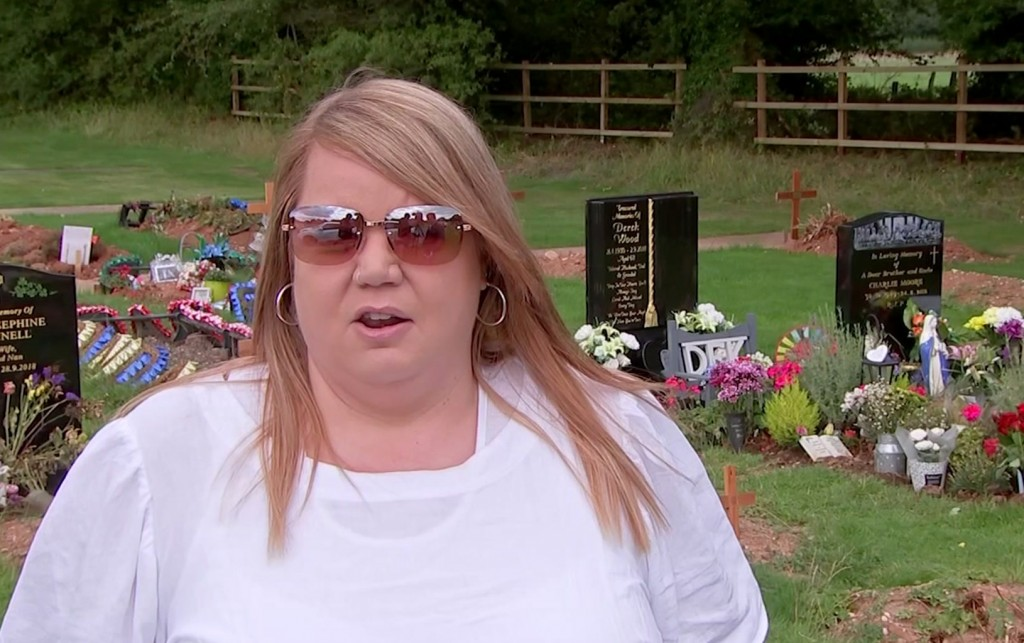 In this image taken from video, Nicola Bowler talks to the Associated Press in the cemetery where her father is buried, in Birmingham, England, Tuesda...