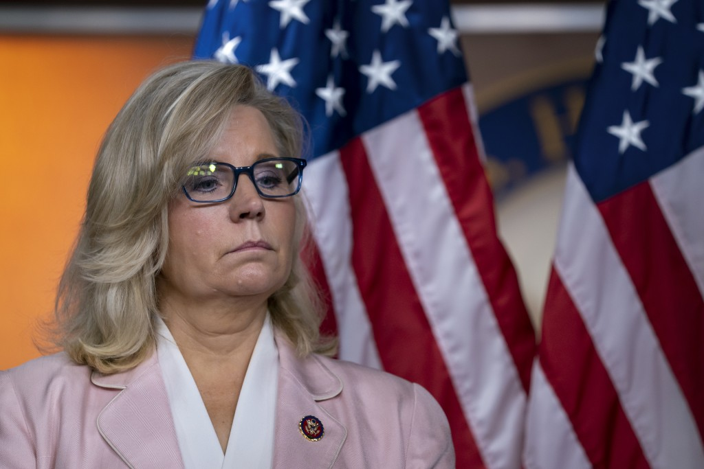 In this Sept. 10, 2019, photo, House Republican Conference chair Rep. Liz Cheney, R-Wyo., pauses as she and the GOP leadership speak to reporters foll