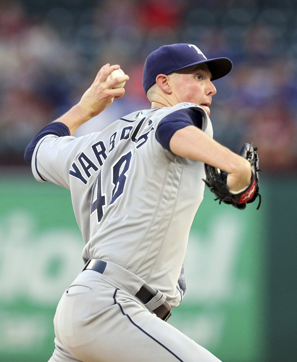 Tampa Bay Rays starter Ryan Yarbrough delivers a pitch during the first inning against the Texas Rangers in a baseball game Tuesday, Sept. 10, 2019, i...