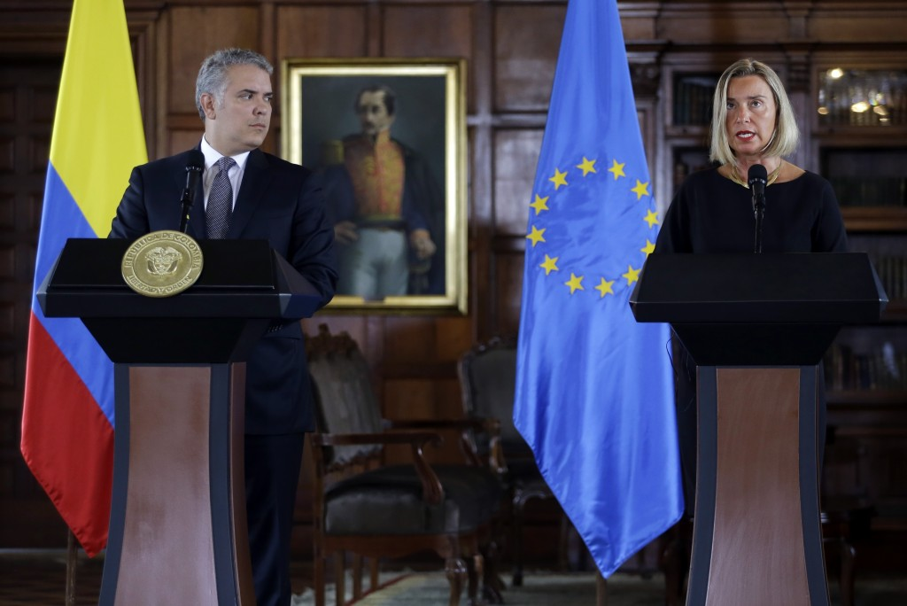 Federica Mogherini, top foreign policy official for the European Union, speaks during a joint statement with Colombia's President Ivan Duque in Bogota...