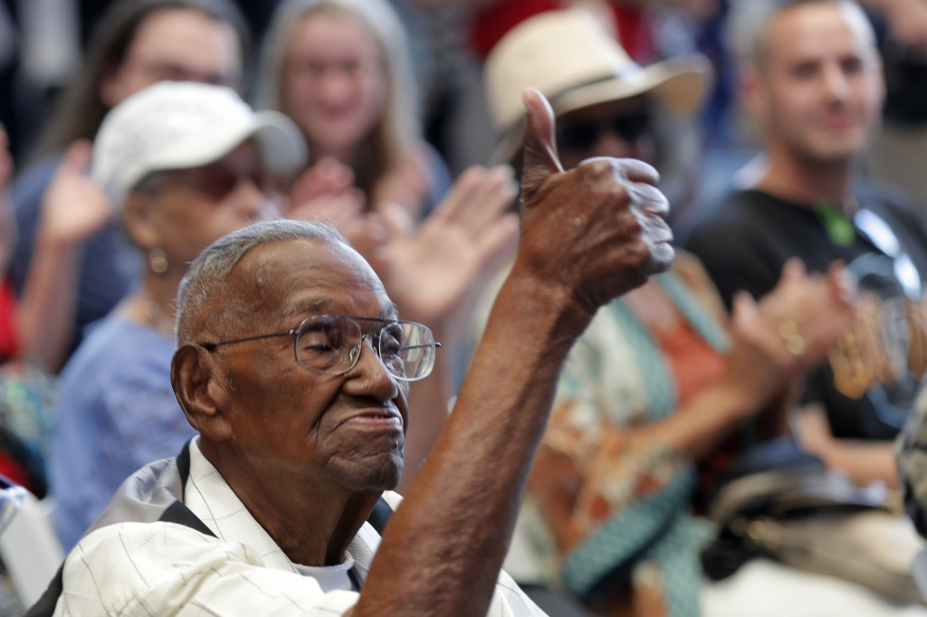 World War II veteran Lawrence Brooks celebrates his 110th birthday at the National World War II Museum in New Orleans, Thursday, Sept. 12, 2019. Brook...