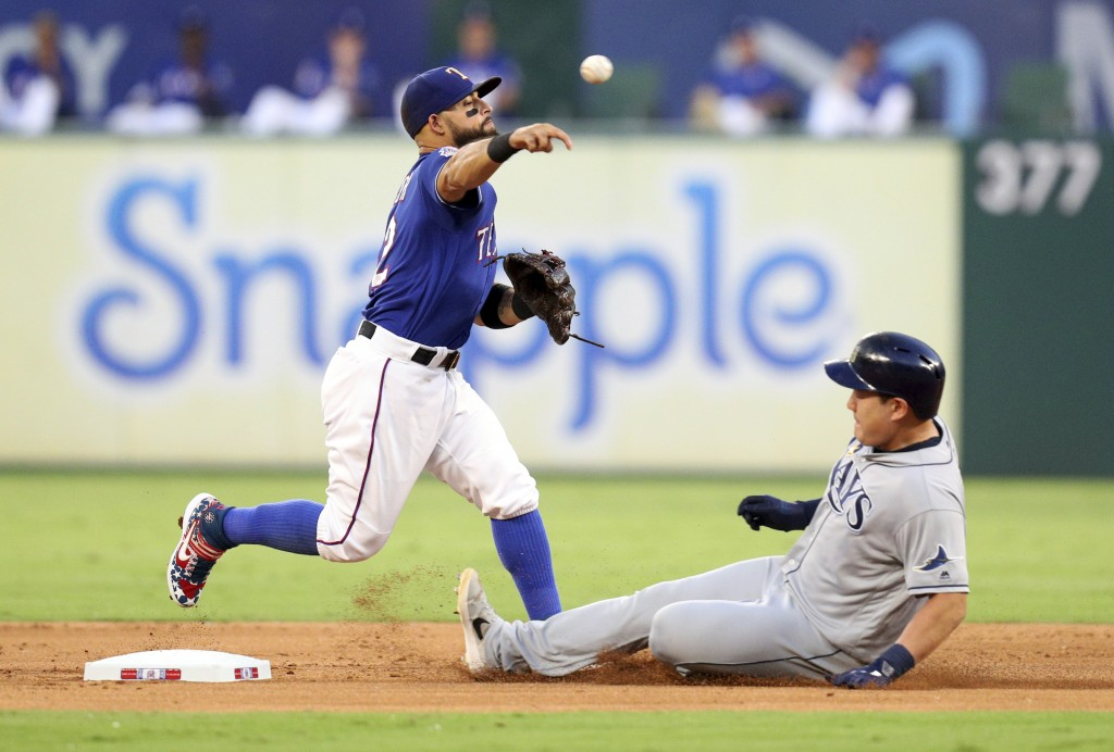 Texas Rangers second baseman Rougned Odor (12) throws to first after forcing out Tampa Bay Rays' Ji-Man Choi during the second inning of a baseball ga...
