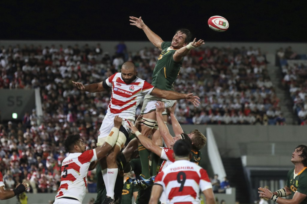 South Africa's Eben Etzebeth fails to catch the ball during a line out against Japan for a rugby match at Kumagaya Rugby Stadium Friday, Sept. 6, 2019...