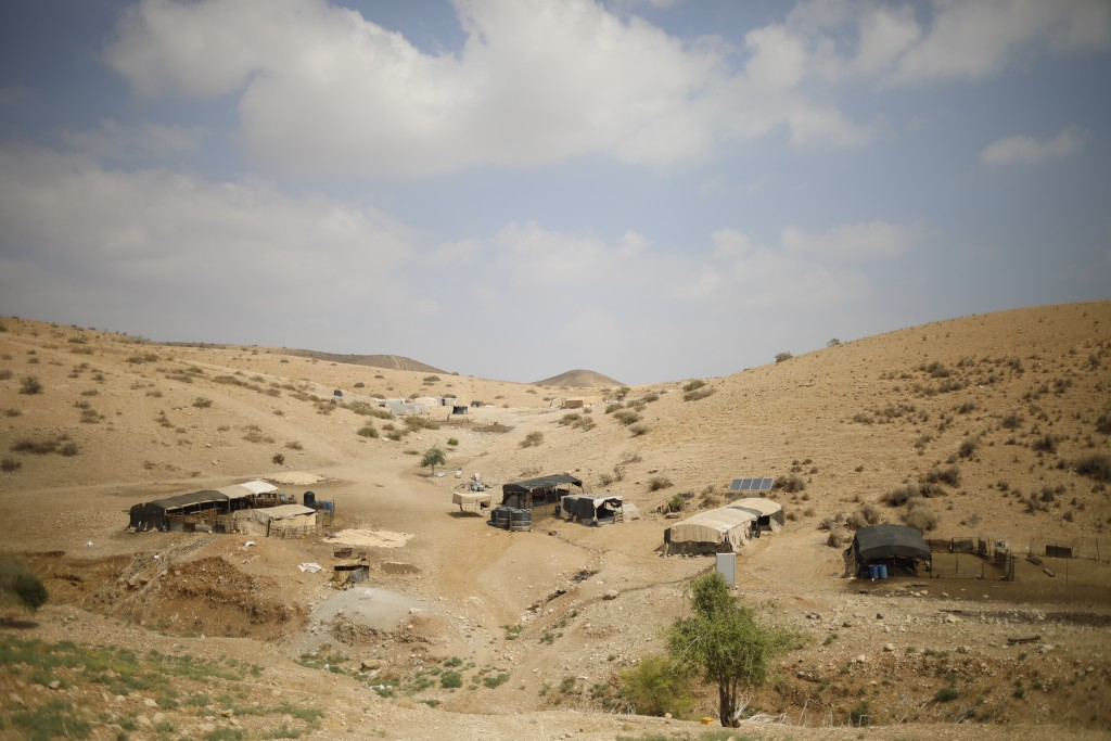 Palestinian Bedouin homes are seen in the Israeli-occupied West Bank, Wednesday, Sept. 11, 2019. Israeli Prime Minister Benjamin Netanyahu's election ...