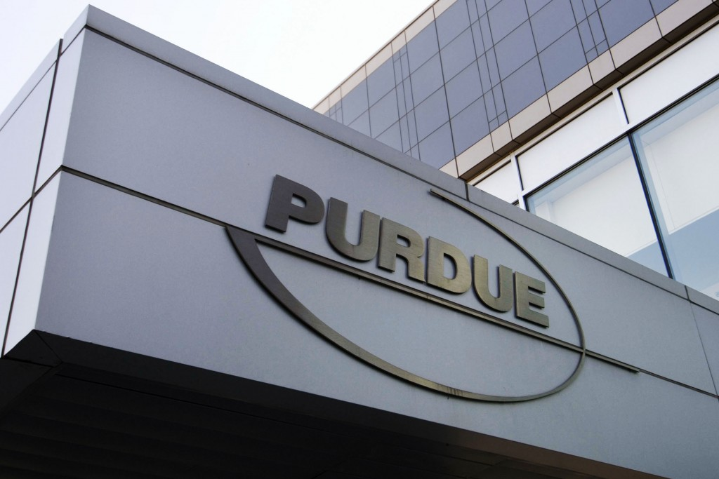 FILE - This May 8, 2007, file photo shows the Purdue Pharma logo at its offices in Stamford, Conn. It's not entirely clear what a bankruptcy filing fo...