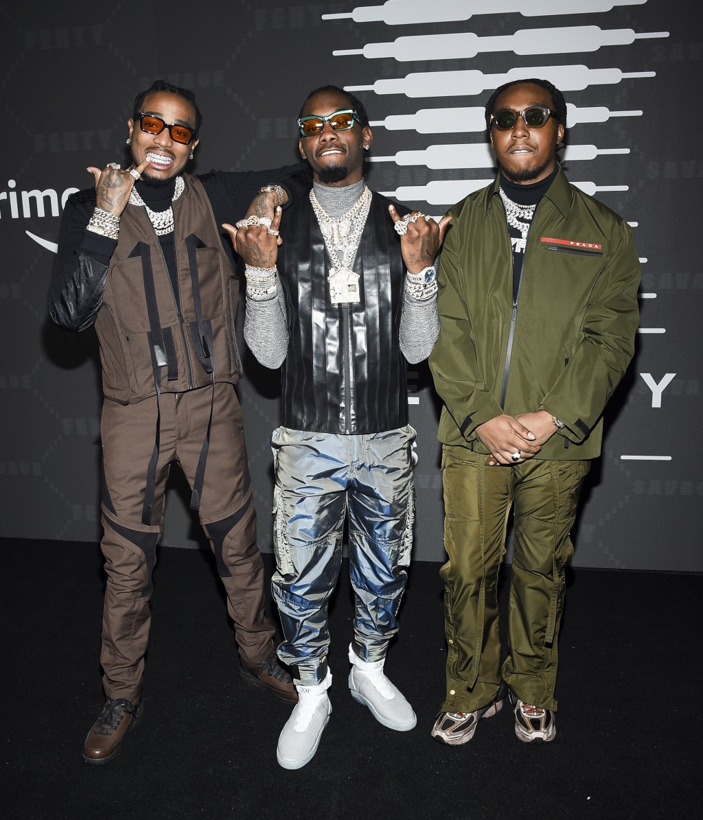 Quavo, Offset, and Takeoff of Migos attend the Spring/Summer 2020 Savage X Fenty show, presented by Amazon Prime, at the Barclays Center on Tuesday, S...