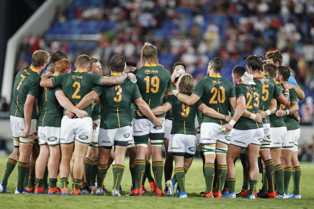 Players from the team South Africa huddle after a rugby match against Japan at Kumagaya Rugby Stadium Friday, Sept. 6, 2019, in Saitama, Japan. South ...