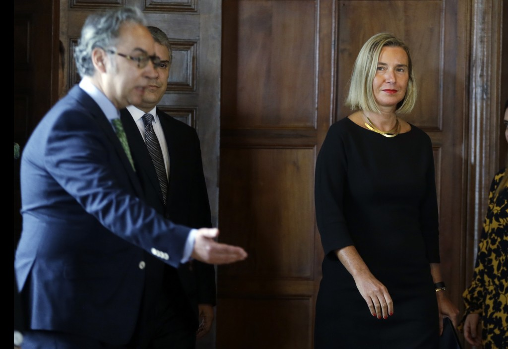 Federica Mogherini, top foreign policy official for the European Union, arrives for a news conference with Colombia's President Ivan Duque at the Fore...