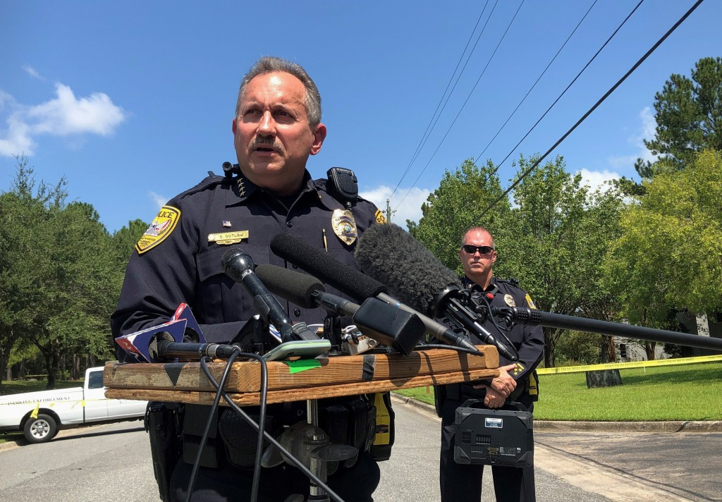 Acting Tallahassee Police Chief Steven Outlaw briefs reporters in Tallahassee, Fla., Wednesday, Sept. 11, 2019, hours after police say a 41-year-old m...