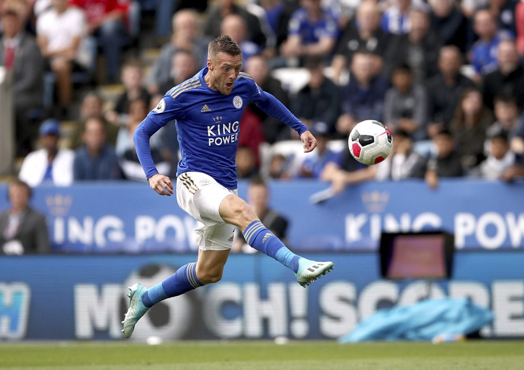 Leicester City's Jamie Vardy scores against Bournemouth during the English Premier League soccer match at the King Power Stadium, Leicester, England, ...