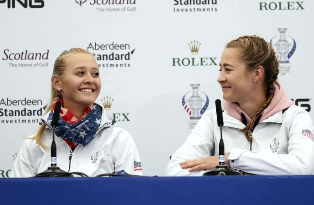 Sisters Jessica and Nelly Korda of the US during a press conference at Gleneagles, Auchterarder, Scotland, Thursday, Sept. 12, 2019. The Solheim cup r...