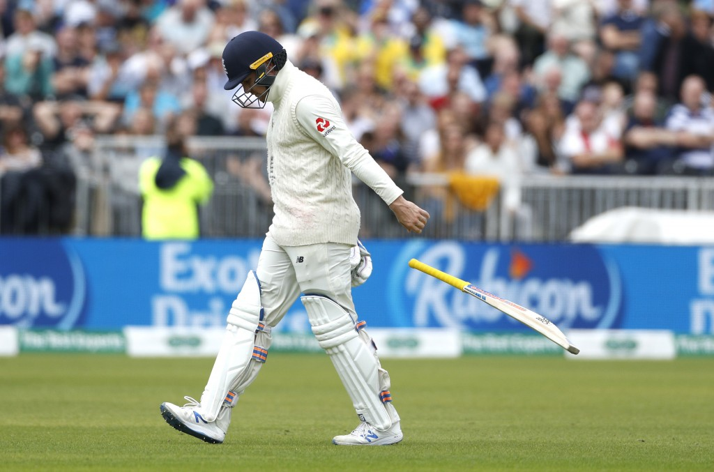England's Jason Roy, returns to the pavilion after being dismissed during day five of the fourth Ashes Test cricket match between England and Australi...