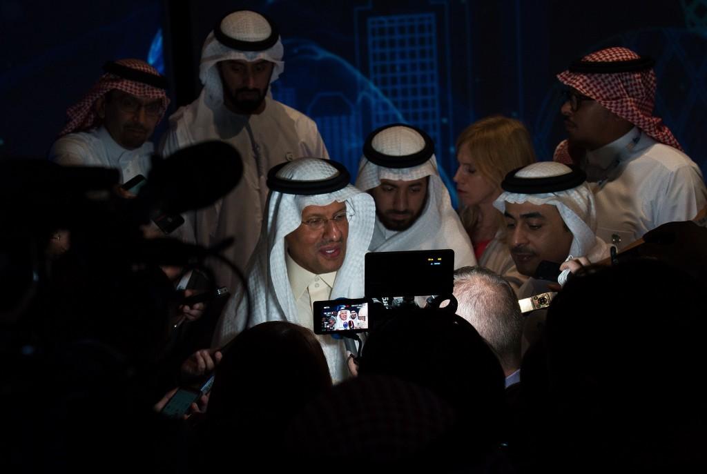 Saudi Arabia's new Energy Minister Prince Abdulaziz bin Salman speaks to journalists at the World Energy Congress in Abu Dhabi, United Arab Emirates,