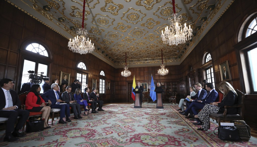 Federica Mogherini, top foreign policy official for the European Union, and Colombia's President Ivan Duque hold a news conference at the Foreign Mini...
