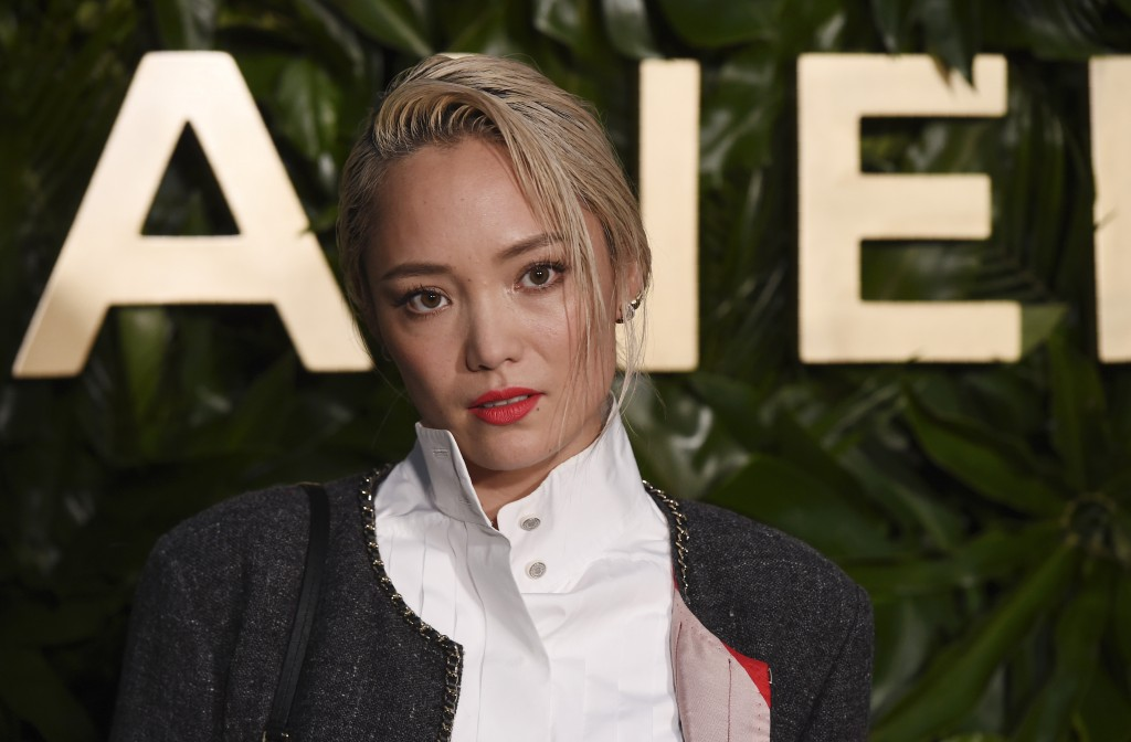Actress Pom Klementieff poses at the launch of the Gabrielle Chanel Essence fragrance at the Chateau Marmont, Thursday, Sept. 12, 2019, in Los Angeles...
