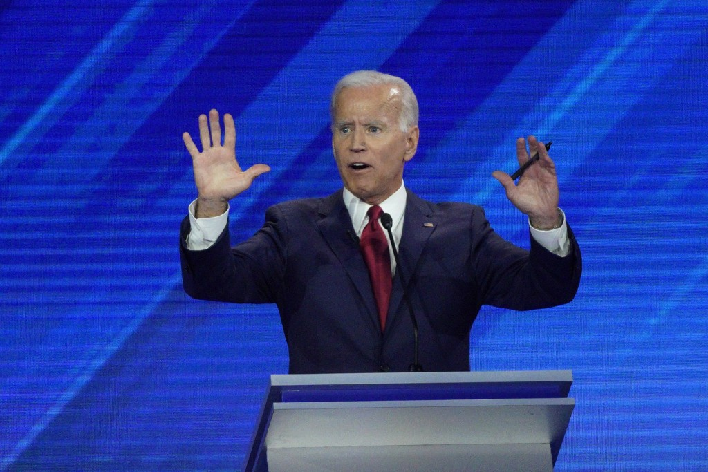 Democratic presidential candidate former Vice President Joe Biden answers a question Thursday, Sept. 12, 2019, during a Democratic presidential primar...