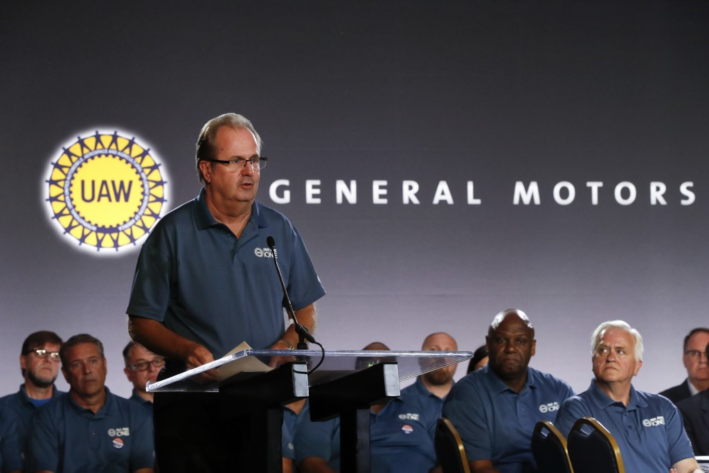 FILE - In this July 16, 2019, file photo United Auto Workers President Gary Jones speaks during the opening of their contract talks with General Motor...