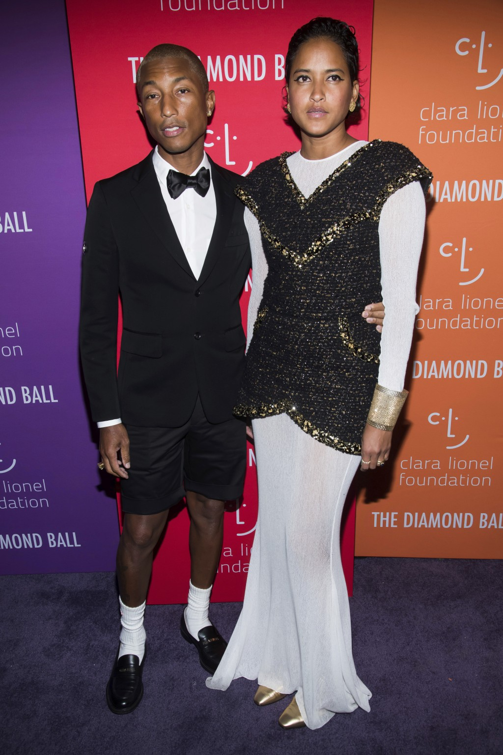Pharrell Williams and Helen Lasichanh attend the 5th annual Diamond Ball benefit gala at Cipriani Wall Street on Thursday, Sept. 12, 2019, in New York...