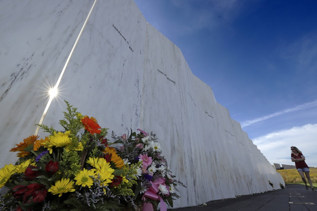 A visitor to the Flight 93 National Memorial in Shanksville, Pa., views the Wall of Names on Tuesday, Sept. 10, 2019, as the nation prepares to mark t...