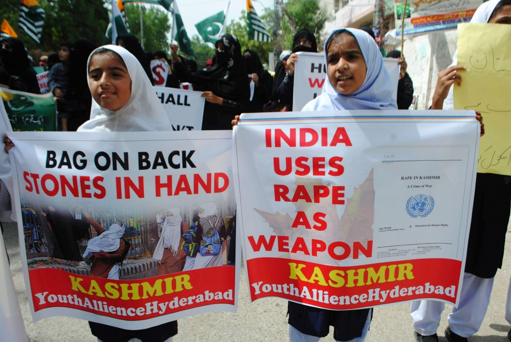 Pakistani students rally to express solidarity with Indian Kashmiris in Hyderabad, Pakistan, Friday, Sept. 13, 2019. The protests and anti-India ralli...