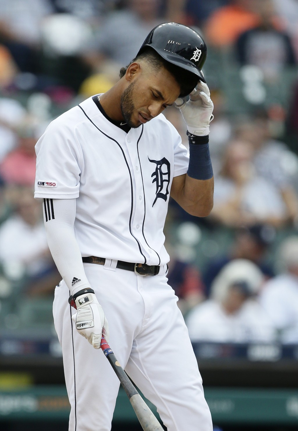 Detroit Tigers center fielder Victor Reyes (22) strikes out during the fourth inning of the first game of a baseball doubleheader against the New York