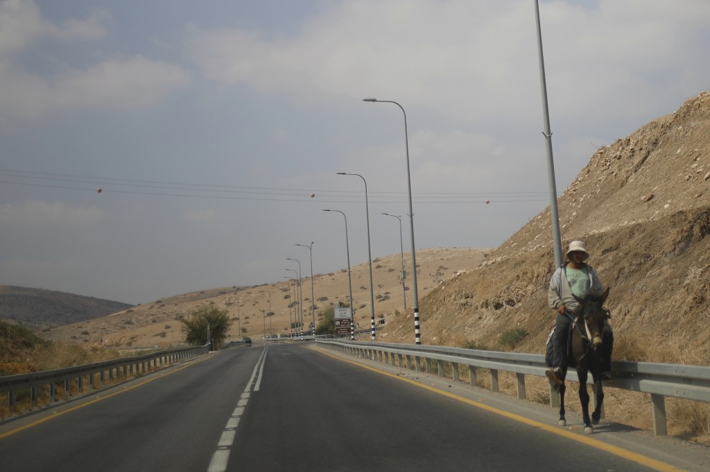 A Palestinian man rides a donkey on a main road in the Jordan Valley, near Tubus, in the Israeli-occupied West Bank, Wednesday, Sept. 11, 2019. Israel...
