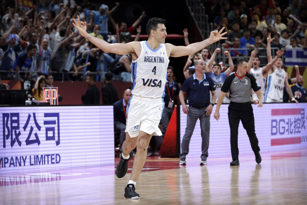 Luis Scola of Argentina celebrates during their semifinal match against France in the FIBA Basketball World Cup at the Cadillac Arena in Beijing, Frid...